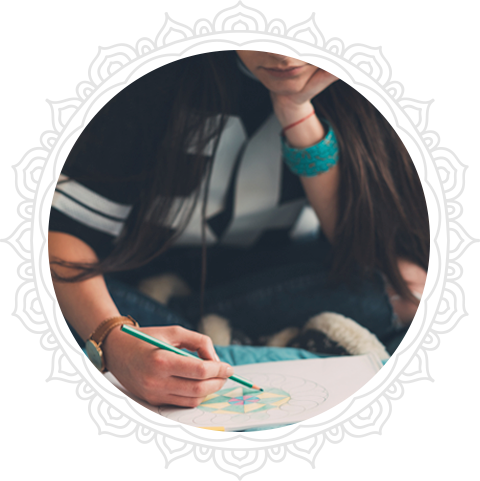 Person coloring mandalas